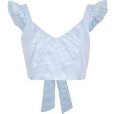 Blue gingham frill shoulder crop top - RI Limited Edition - Sale - women from River Island Clothing. Crop Top Outfits, Girly Outfits, Cute Outfits, Fashion Outfits, Fashion Fashion, Blue Gingham Shirts, Holiday Outfits Women, Holiday Clothes, Blue Crop Tops