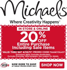 20 Off Entire Purchase Including Sale Items At Michaels Until 4 22 Store CouponsCraft