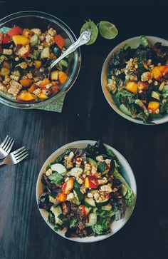 Taco Bowls with Grilled Corn Zucchini + Peach Salsa