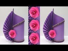 Beautiful Flower Vase from PAPER! Paper Flower Vase, Easy Paper Flowers, Paper Vase, Giant Paper Flowers, Flower Vases, Paper Crafts Origami, Diy Paper, Lotus Flower Art, Vase Crafts