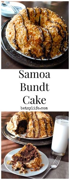 Samoa Cookie Cake Recipe. The best cake you'll ever make.