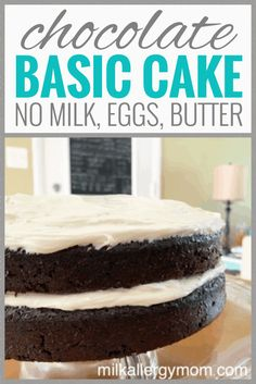 Top recipe at Milk Allergy Mom! Chocolate cake that calls for no milk, no egg, no butter. But it's delicious! And it's perfect in a pinch. Chocolate Desert Recipes, Egg Free Chocolate Cake, Eggless Chocolate Cake, Perfect Chocolate Cake, Chocolate Deserts, Amazing Chocolate Cake Recipe, Vegan Chocolate, Dairy Free Baking, Dairy Free Eggs