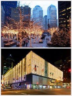 Top: Christmas at Zuccotti Park, NYC.  Bottom: Bloomingdales