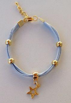 pulsera-de-moda-de-hilo-estrella-de-oro-hilo-azul
