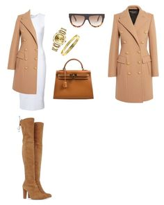 """Untitled #108"" by nelly-bagdasaryan on Polyvore featuring Stuart Weitzman, Victoria Beckham, Balmain, Hermès, Rolex, Cartier and CÉLINE"