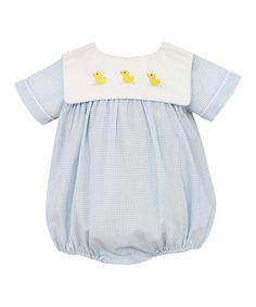 bb6d7299d9c2 Anavini Infant Boys Blue Checks Yellow Ducks Bubble with Collar