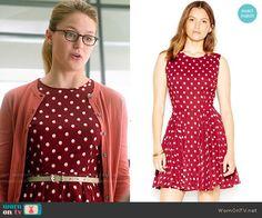 Kara's red polka dot dress on Supergirl.  Outfit Details: https://wornontv.net/53729/ #Supergirl