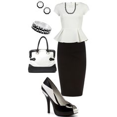 Office Attire (Black & White), created by landyp on Polyvore