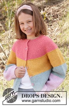 Knitted jacket for children with stripes in DROPS Air, Nepal or Paris. The piece is worked top down with round yoke and raglan. Baby Knitting Patterns, Free Baby Patterns, Knitting For Kids, Free Knitting, Drops Design, Crochet Girls, Crochet For Kids, Crochet Cardigan Pattern, Knit Crochet