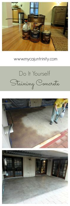 Step-by-step instructions on how to stain concrete. This easy tutorial will help make your patio or driveway look classy and chic. Click through for more information. Cement Stain, Concrete Dye, Stained Concrete, Concrete Patio, Concrete Floors, Concrete Staining, Front Porch Landscape, Cozy Basement, Painted Floors