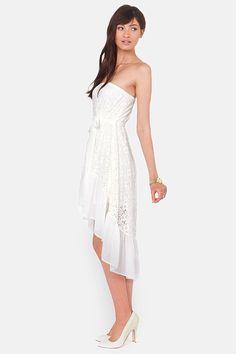 Angel Falls Strapless Ivory Lace Dress at LuLus.com!