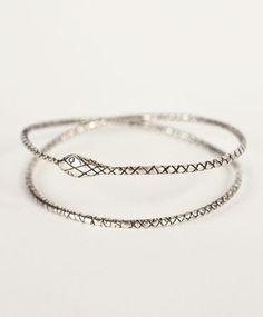 Silver Endless Serpent Bangle by Talon