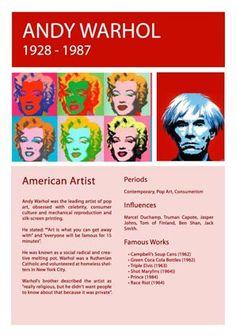 Artist Info Sheet Andy Warhol