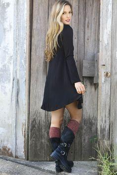 Come Around Black V-Neck Long Sleeve Jersey Swing Dress