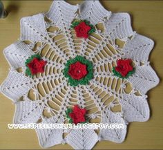 Crochet: Washcloth Christmas with the pap floweret photo tut