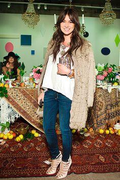 big coat/ white tee/ denim skinnies/ vintage necklace =natasha goldenberg