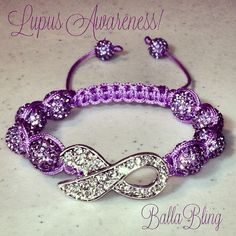 BallaBling Swarovski Crystal Lupus Ribbon Awareness Shamballa Bracelet
