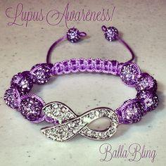 BallaBling Swarovski Crystal Lupus Ribbon Awareness Shamballa Bracelet