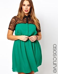 Image 1 of ASOS CURVE Exclusive Shirt Dress With Lace Top
