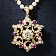 Victorian Ruby, Pearl and Diamond Necklace - 90-1-5864 - Lang Antiques