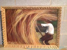 L'uomo e il covone, la forza. Olio su tela 50x70
