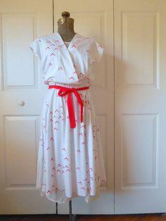 Vintage retro 70's red and white Bird Dress by houuseofwren