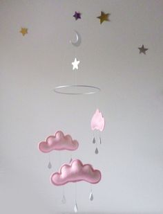 Light pink Cloud mobile KRISTEN for nursery by by leptitpapillon