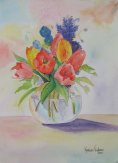 Tulips in watercolor by Kathleen Friedman