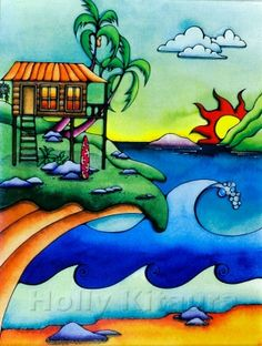 Hawaiian art ~ HK54 by Holly Kitaura  Beach Shack