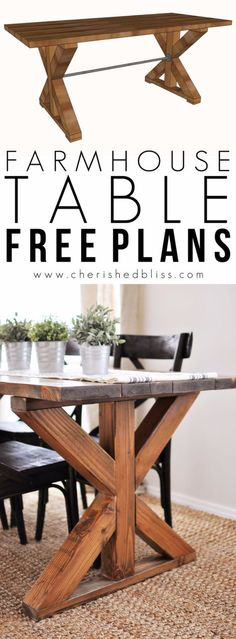 Farmhouse table plans & ideas find and save about dining room tables . See more ideas about Farmhouse kitchen plans, farmhouse table and DIY dining table Reclaimed Wood Projects, Diy Wood Projects, Recycled Wood, Diy Dining Room Table, Dining Area, Dining Rooms, Patio Table, Dyi Kitchen Table, Table Bench
