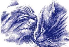 Two happy cats photo stitch free embroidery design - Photo stitch embroidery - Machine embroidery forum