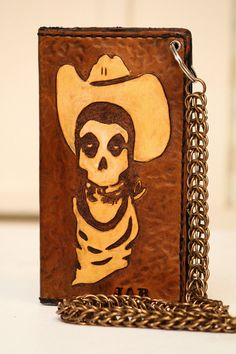 Skull Cowboy | Hank 3 Custom Biker Wallet | Chain Wallet | Long Wallet | Roper Wallet | Cell Phone Wallet Case by Skid at GodSkin Custom Leather.