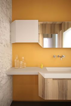 An (In)discrete Eye by UdA Architetti // Apartment Renovation in Turin, Italy. An (In)discrete Eye by UdA Architetti // Apartment Renovation in Turin, Italy. Bathroom Inspiration, Interior Inspiration, Bathroom Ideas, Yellow Bathrooms, Apartment Renovation, Yellow Walls, Modern Bathroom Design, Modern Bathrooms, Interior Design Studio