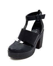 Black (Black) Wide Fit Black Cut Out Chunky Heels  | 319166101 | New Look - Black