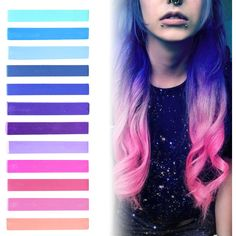 GALAXY HAIR | Blue, Purple, Lilac & Pink Pastel Ombre Hair Chalk... (155 NOK) ❤ liked on Polyvore featuring beauty products, haircare, hair color, hair, hairstyles, beauty, hair styles and makeup