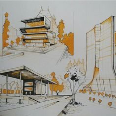 By sketching sketches, architecture и a Architecture Design, Architecture Concept Drawings, Architecture Presentation Board, Architecture Sketchbook, Architecture Graphics, Landscape Architecture, Construction, Illustration, Adaptive Design