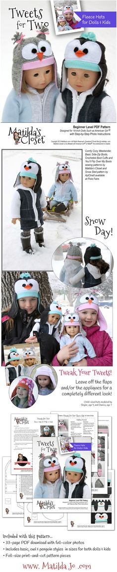 Sew an adorable fleece owl or penguin hat for your 18-inch doll ... and then make a matching hat for your child!!