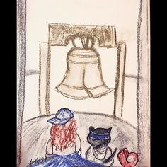 A girl and kitty travels to Philadelphia Pennsylvania USA  (The Liberty Bell) #usa #philadelphia #pennsylvania #sculpture #libertybell #cats #cat #kitty #art #artbyalenwillemse #rembrandtpastels #rembrandt #pastelart #pastels #travels #traveling #travel #monument #building #american