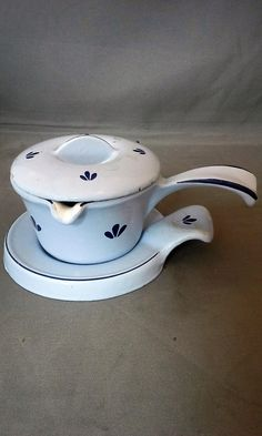 Dru Tulip Blue Enamel Cast Iron Butter Warmer 3 Piece Set 1960