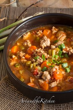 Italian Turkey Burger Soup - a delicious healthy and hearty soup.
