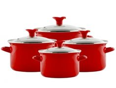 Komplet garnków emaliowanych Prima 4-el. czerwony Kitchen, Red, Cooking, Kitchens, Cuisine, Cucina