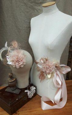 Bridal Sash & Headpiece wedding belt Fascinator Flower vintage