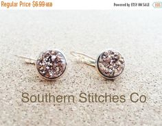 Back To School Sale SALE Earrings Rose Gold by SouthernStitchesCo