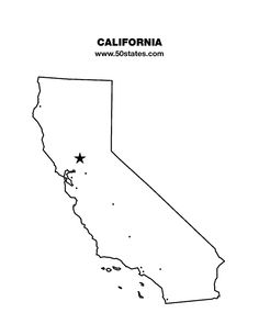 Blank map of California. Find this map and the other 49 states at http://www.50states.com.