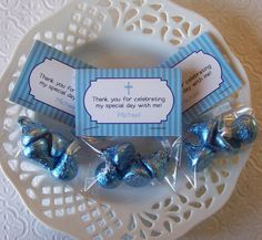 Printable Personalized Boy First Communion Mini Bag Toppers.