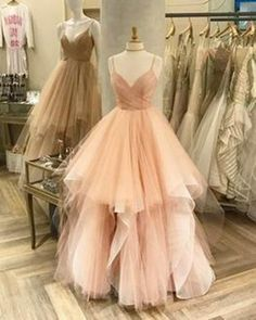 2018 Prom Dresses | Blush pink tulle prom dress with straps #prom #dresses #spring #promdress #promdresses