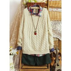 preppy style sweet solid color o-neck small twist pullover sweater