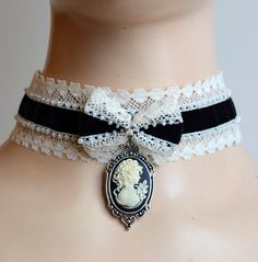 Black velvet cameo choker corset collar necklace by ElegantRarity