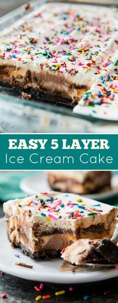 Simple and divine 5 layer ice cream cake sitting on top of an Oreo crust! Cool off and celebrate with this recipe on http://sallysbakingaddiction.com
