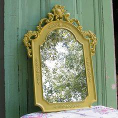 Vintage Mirror Upcycled in Lemongrass. $160.00, via Etsy.